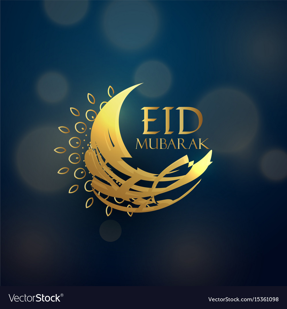 Creative eid moon design in golden color vector image