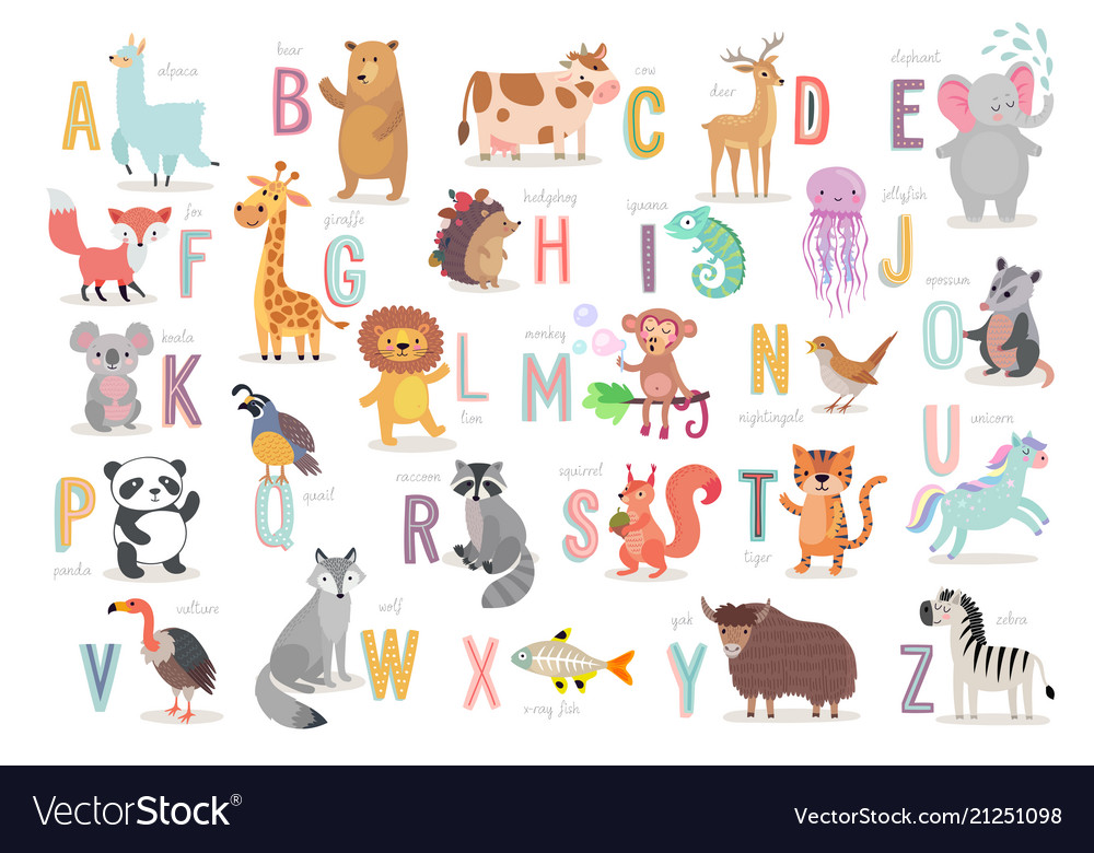 Cute animals alphabet for kids education funny