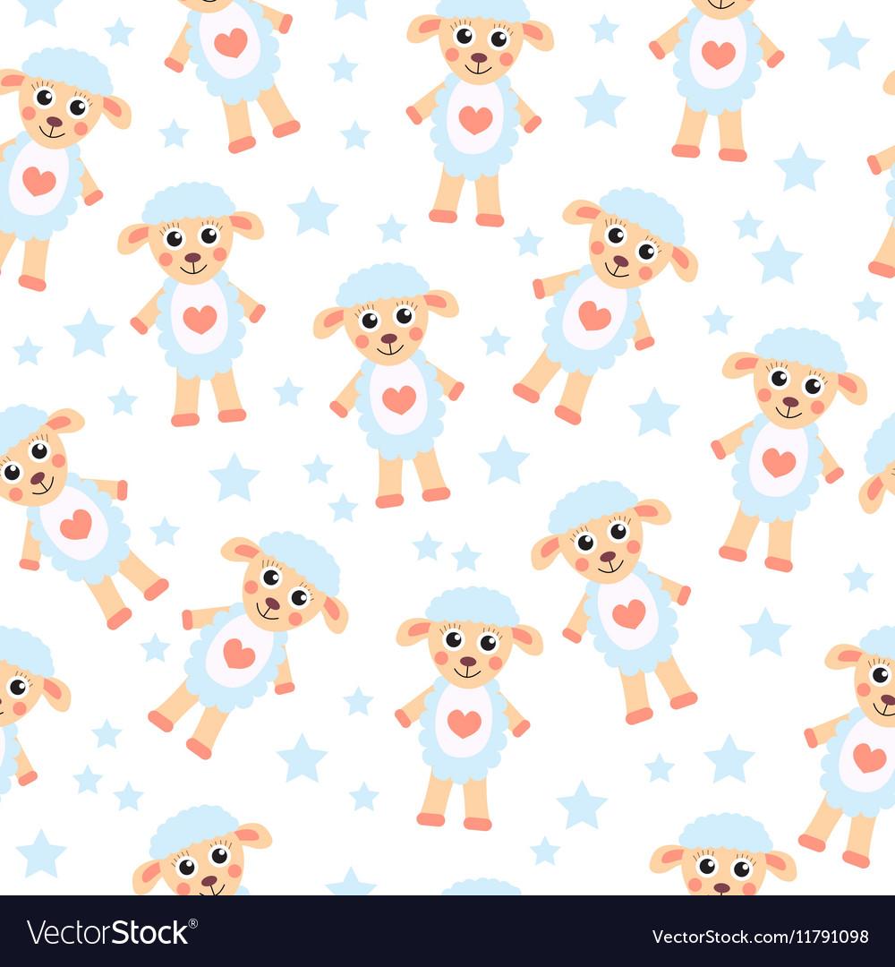 Cute cartoon sheep seamless texture Children s