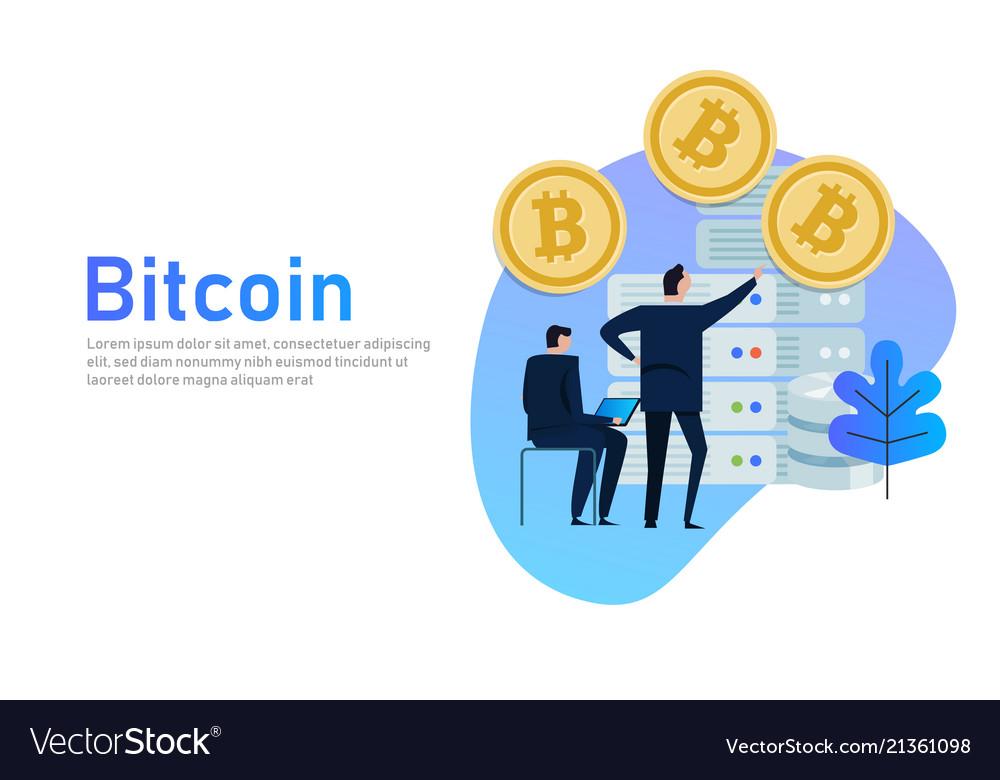 Flat bitcoin online mining concept web
