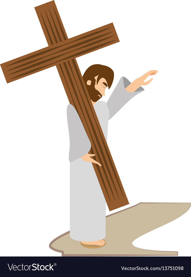 Jesus christ comfort girls - via crucis station vector image