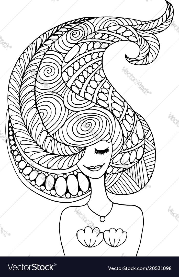 Mermaid portrait zentangle sketch for your design vector image
