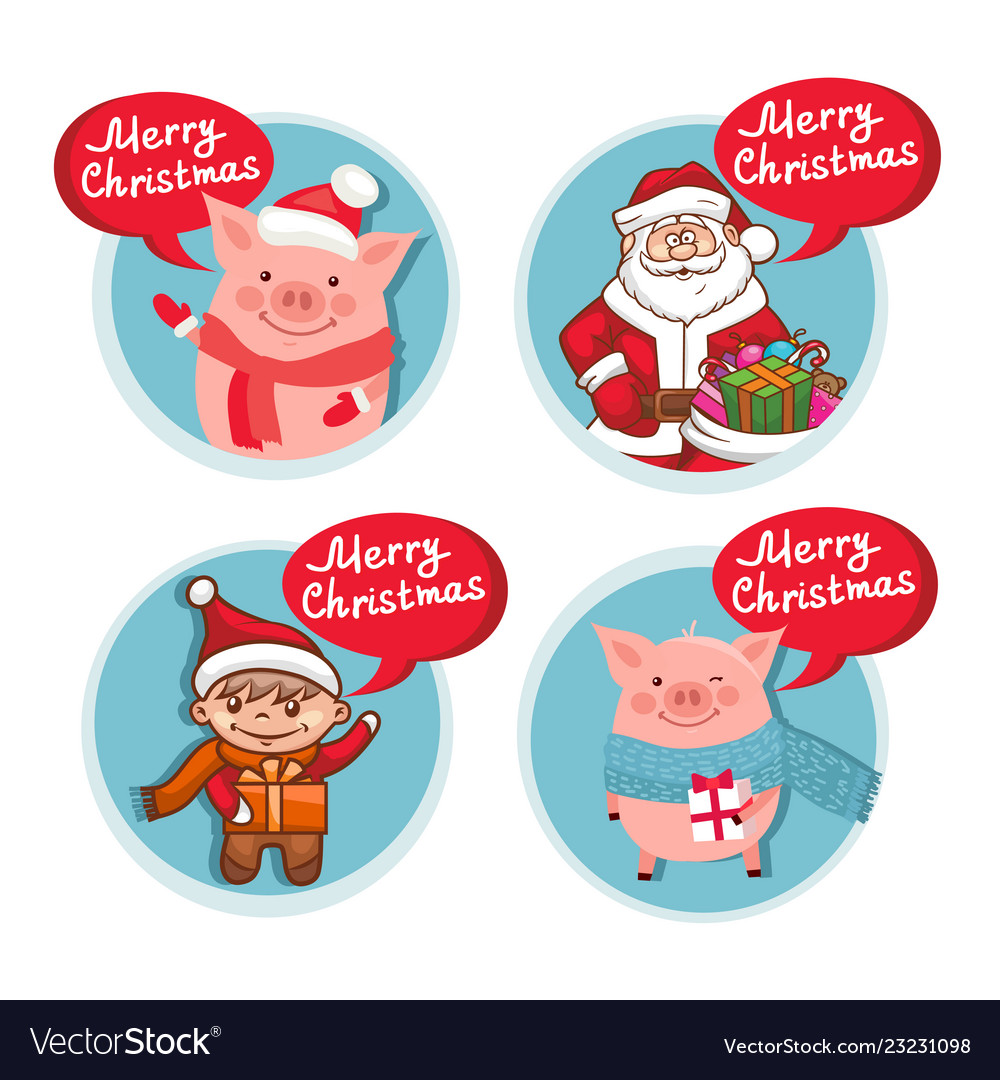Merry christmas flat icons set with funny pig