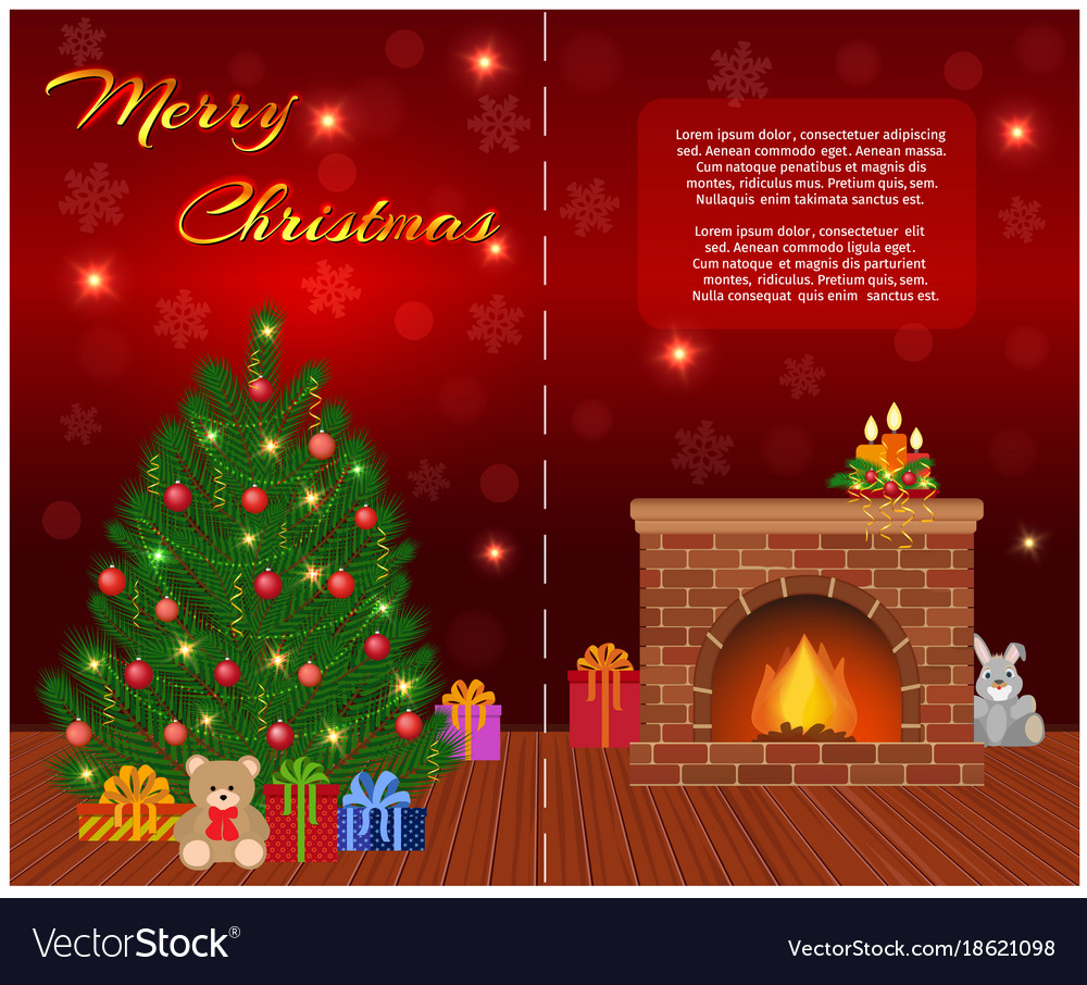 Merry christmas greeting card design with vector image m4hsunfo