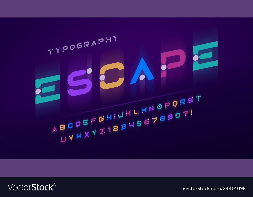 Original futuristic display font design alphabet