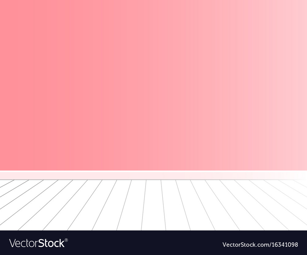 Pink wall with white floor interior