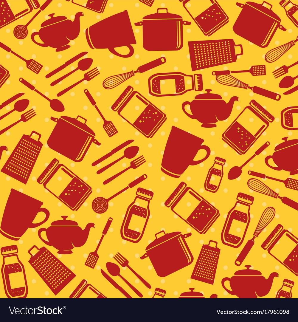 Seamless pattern kitchen utensils vector image