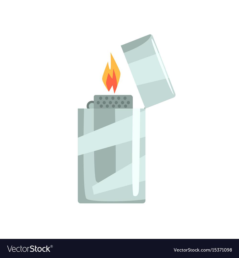 Silver metal zippo lighter vector image