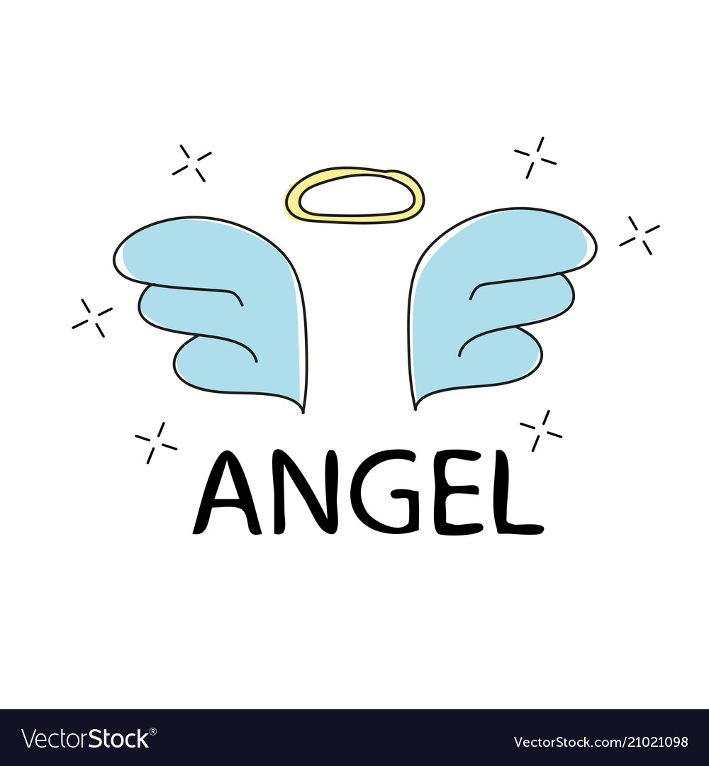 Slogan angel print for t-shirt graphics