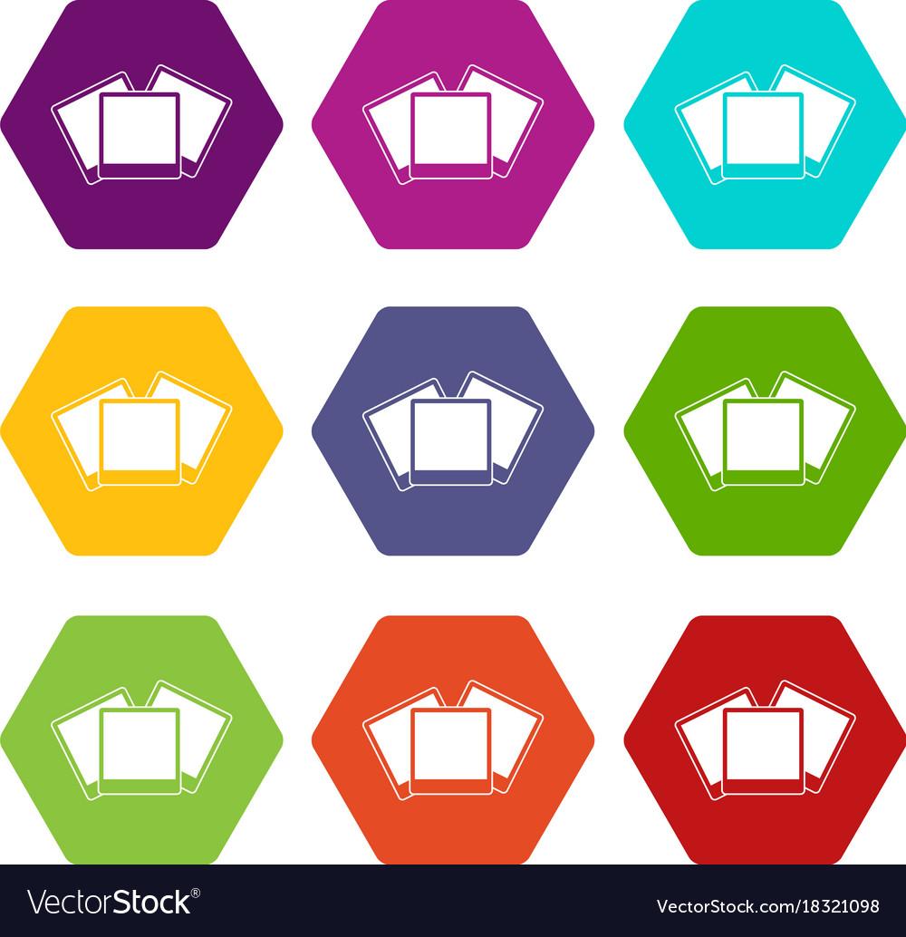 Wedding invitation cards icon set color hexahedron vector image