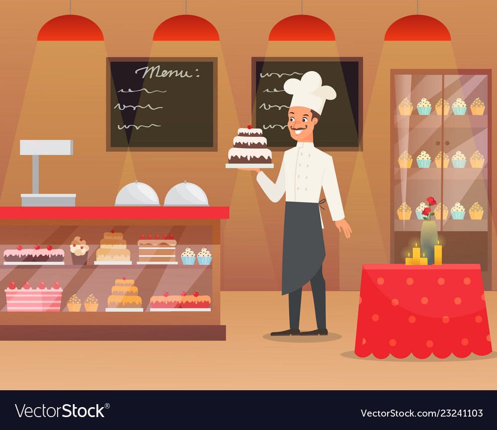 An interior of bakery with man
