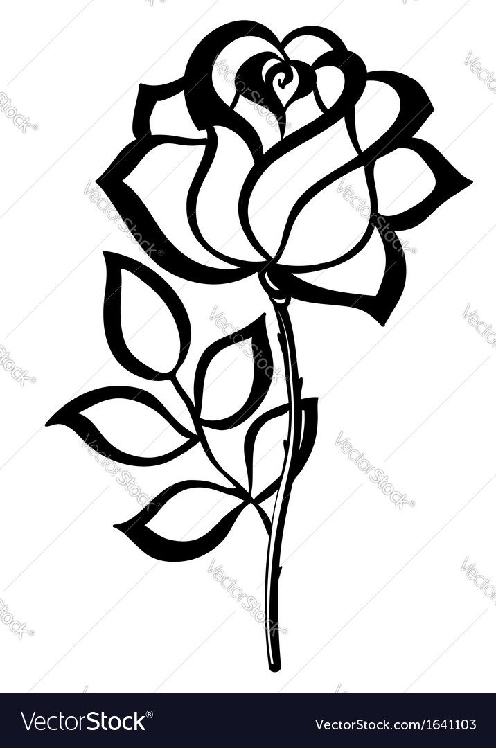 Black silhouette outline rose isolated on white