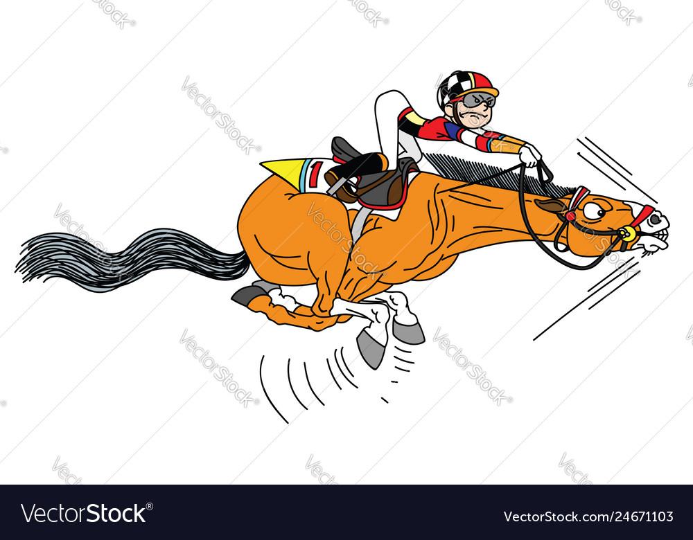 Cartoon race horse with jockey