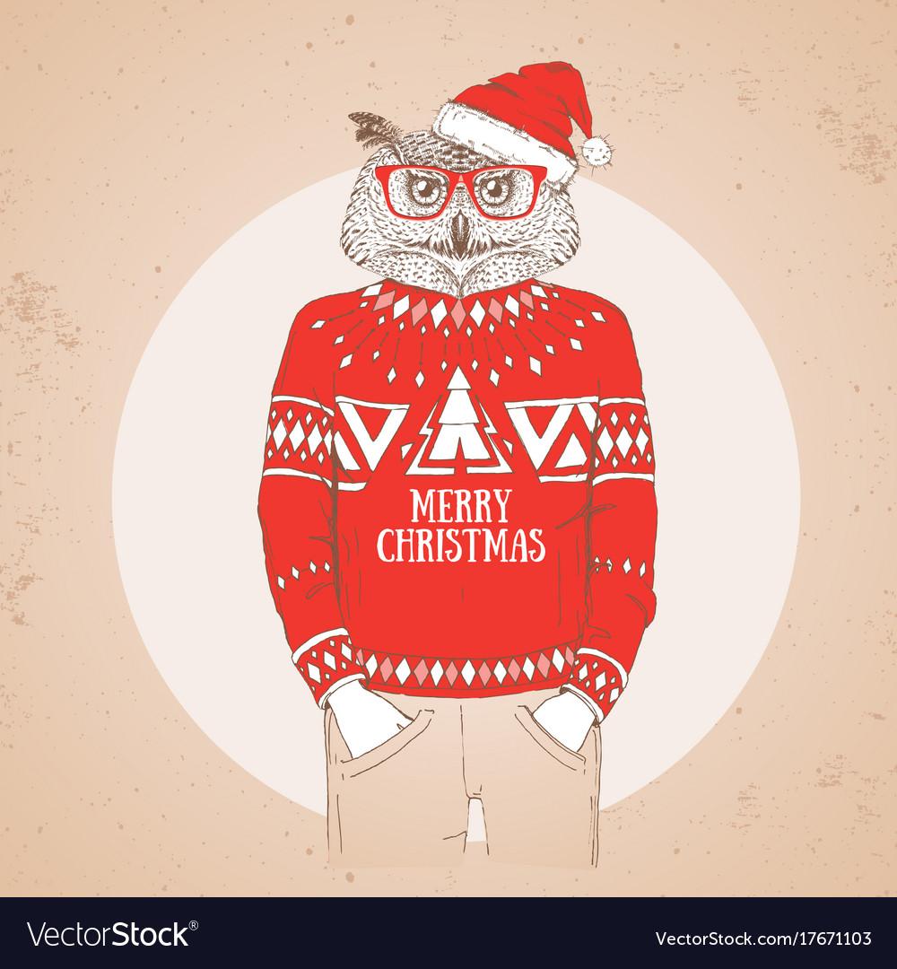 Christmas hipster fashion bird owl