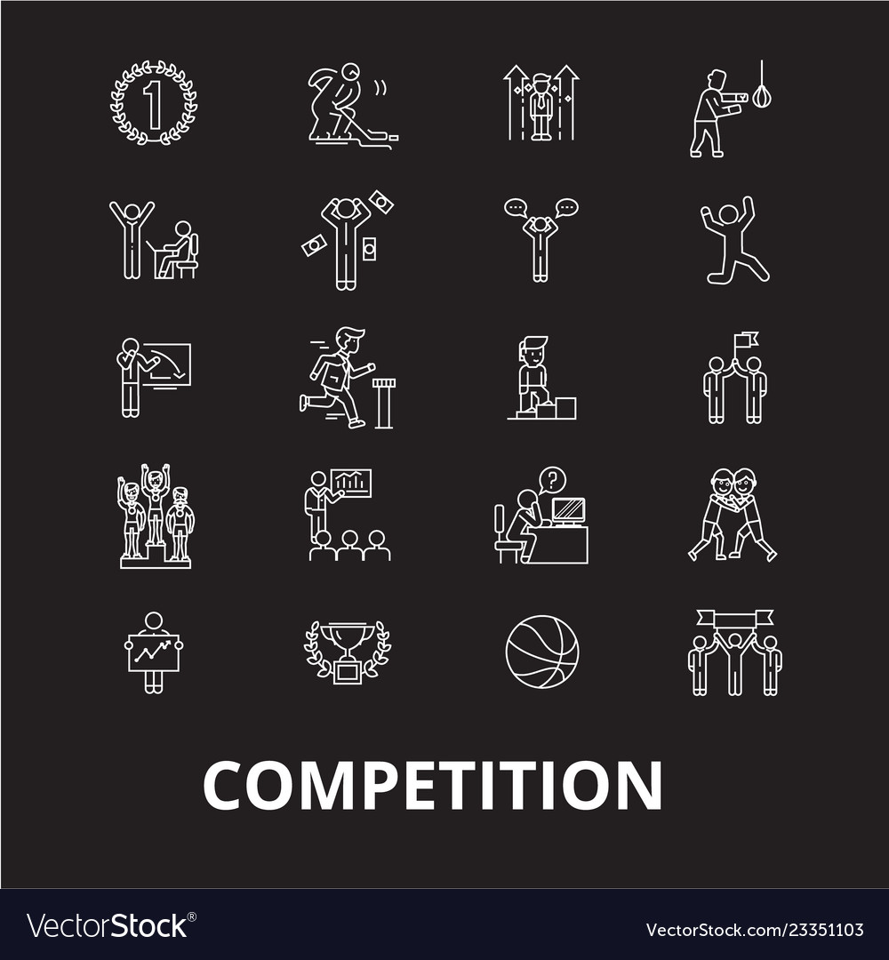 Competition editable line icons set on