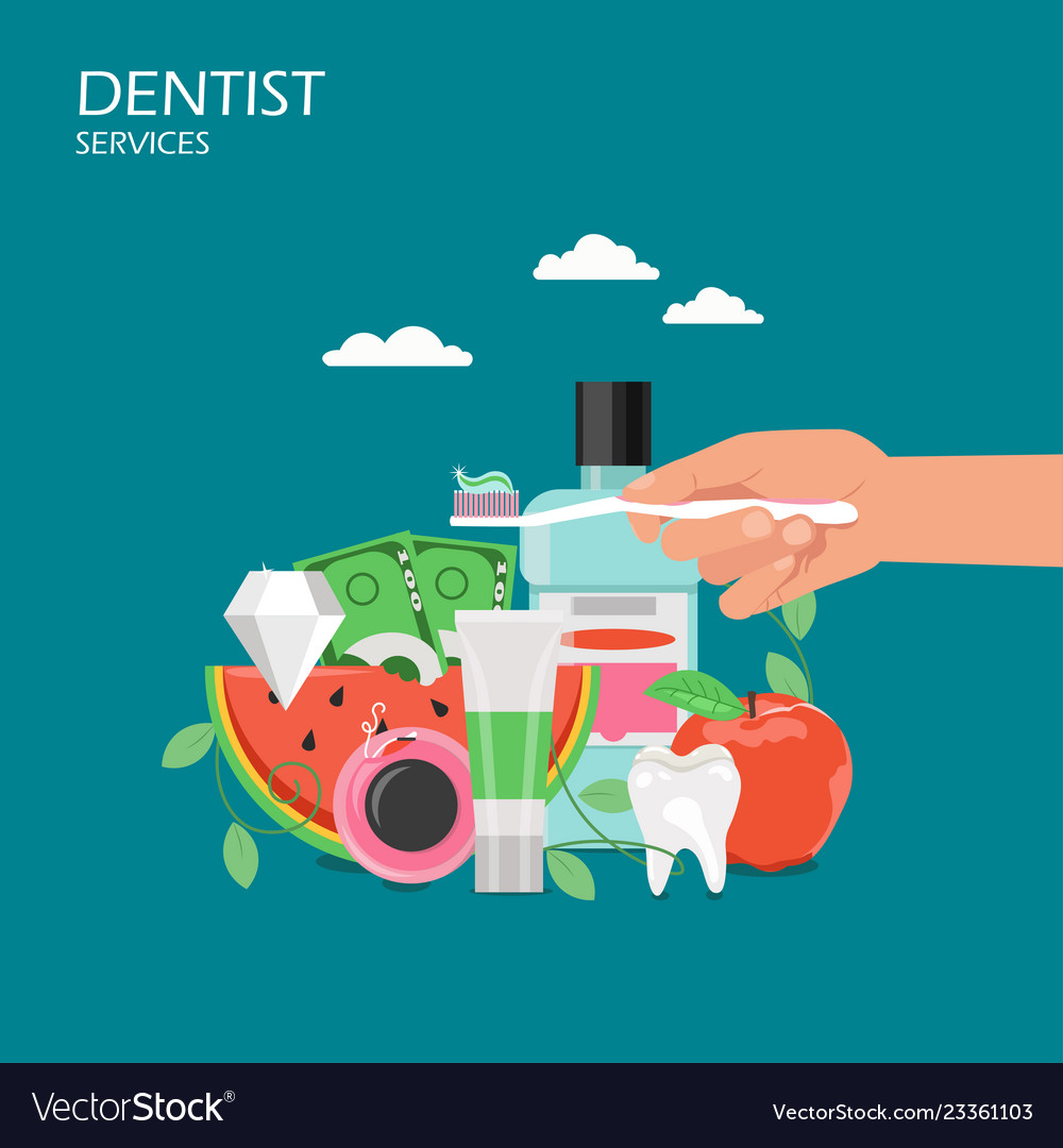 Dentist services flat style design