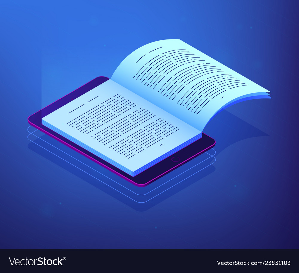 Digital reading isometric 3d concept