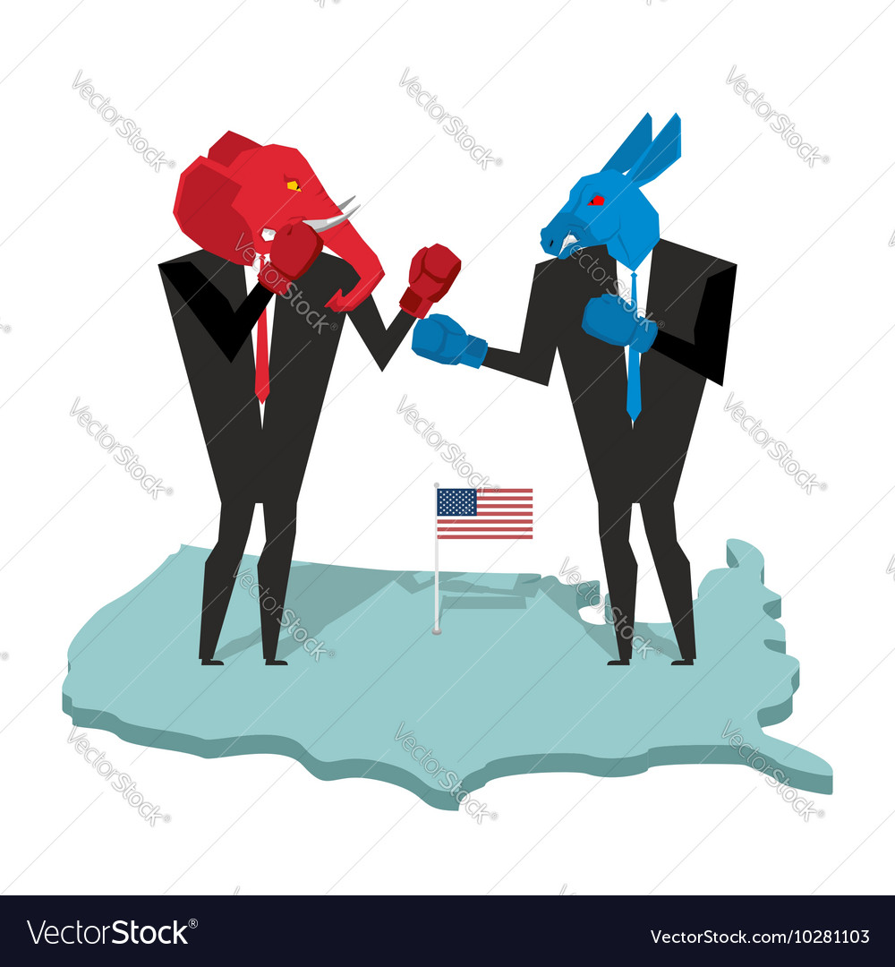 Donkey and elephant fight Democrat and Republican