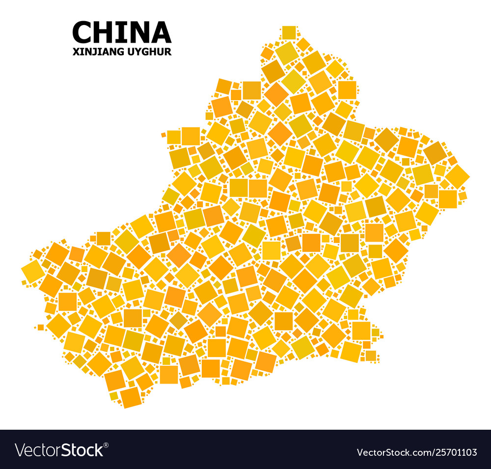 Map Xinjiang.Gold Rotated Square Pattern Map Xinjiang Uyghur