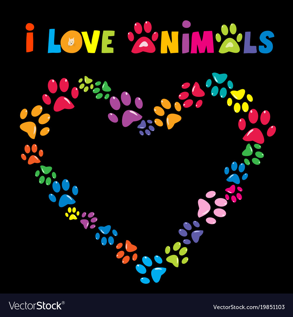 I love animals card with colorful paw prints