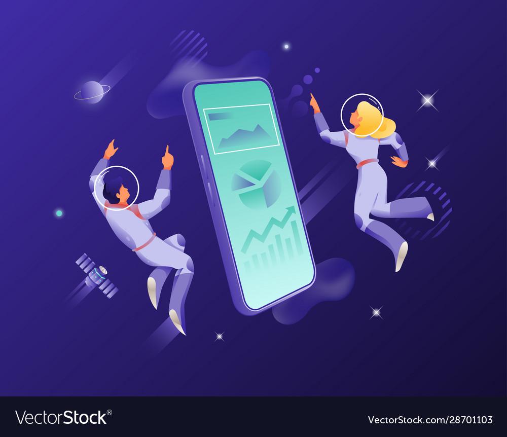 Man and woman around big smartphone