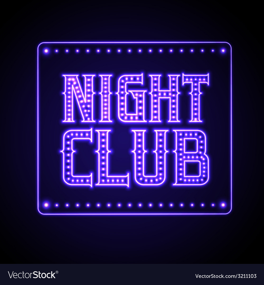 Neon sign Disco party night club