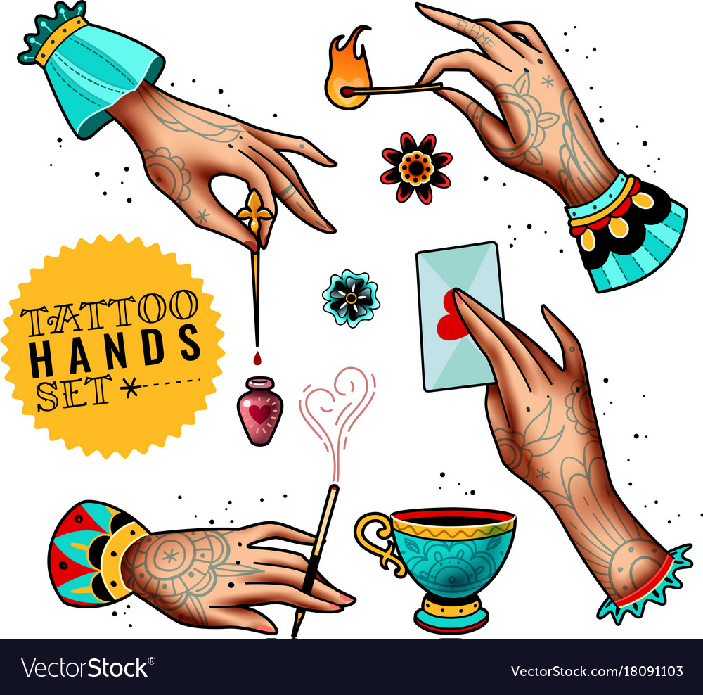 Oldschool tattoo hands set