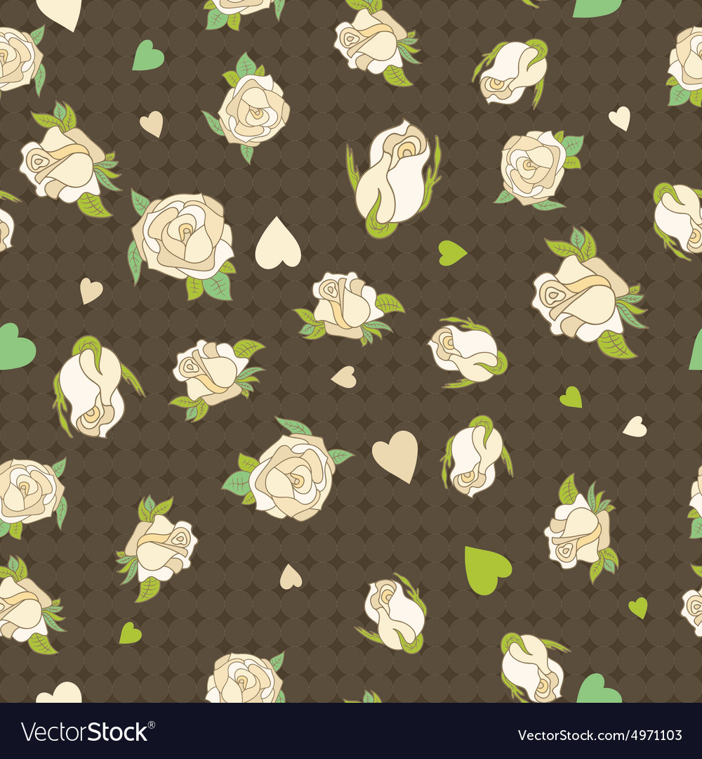 Seamless patern with beige roses on a brown