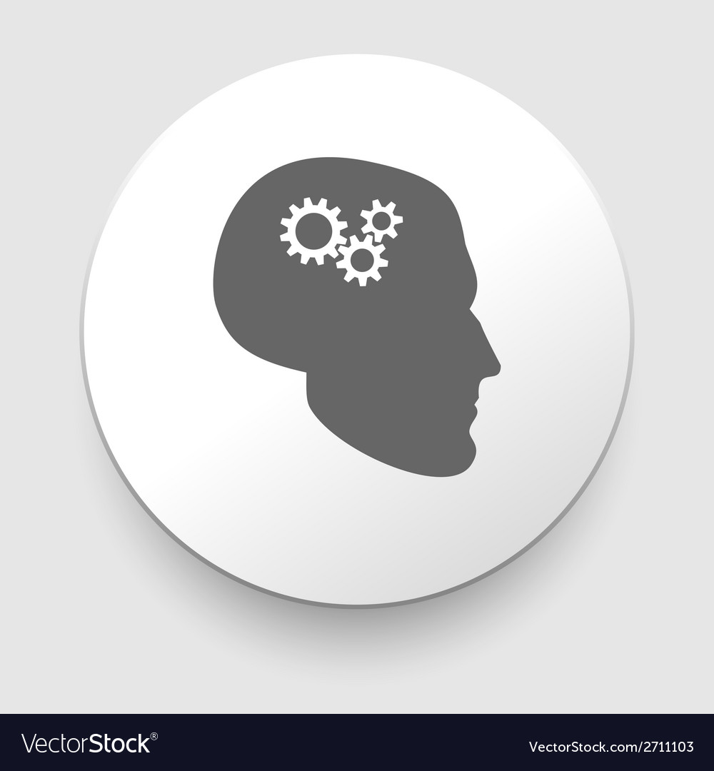 Silhouette of man head with gears vector image