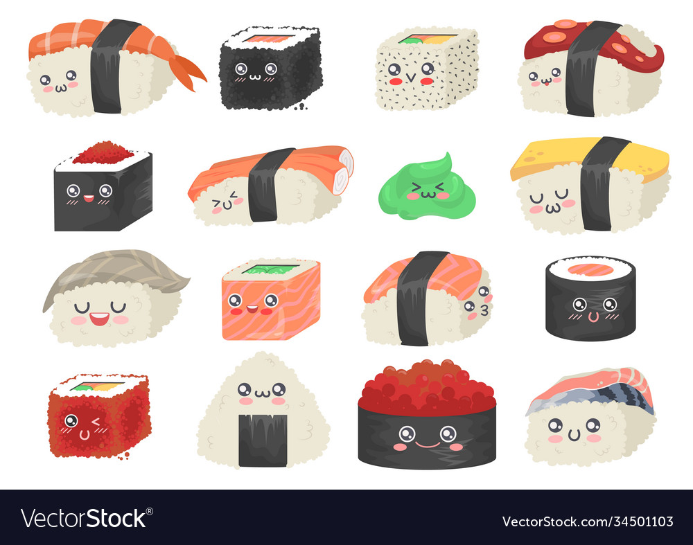 Sushi sashimi and rolls cute and funny cartoon