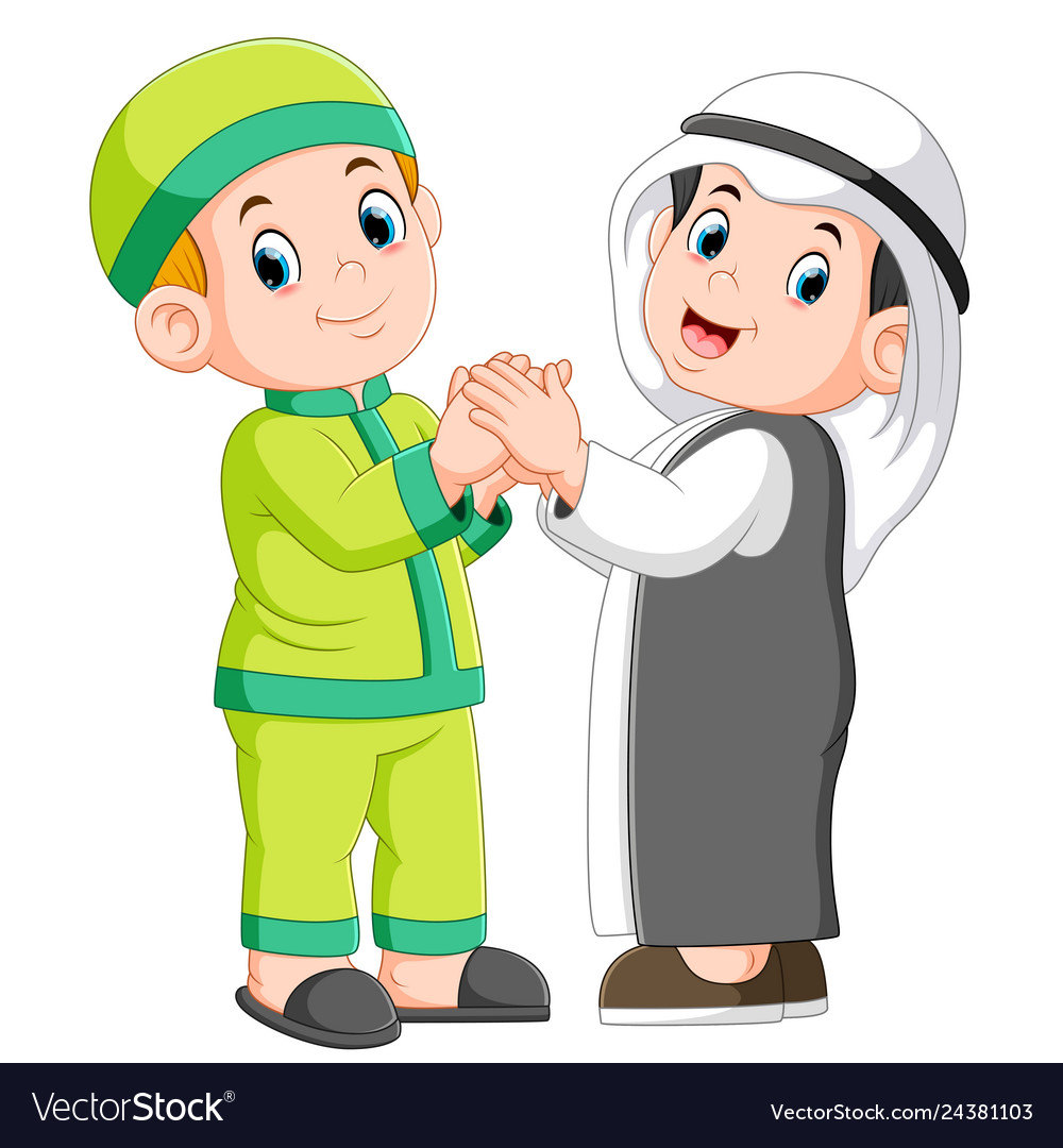 Two moslem man and his best friend shaking hands