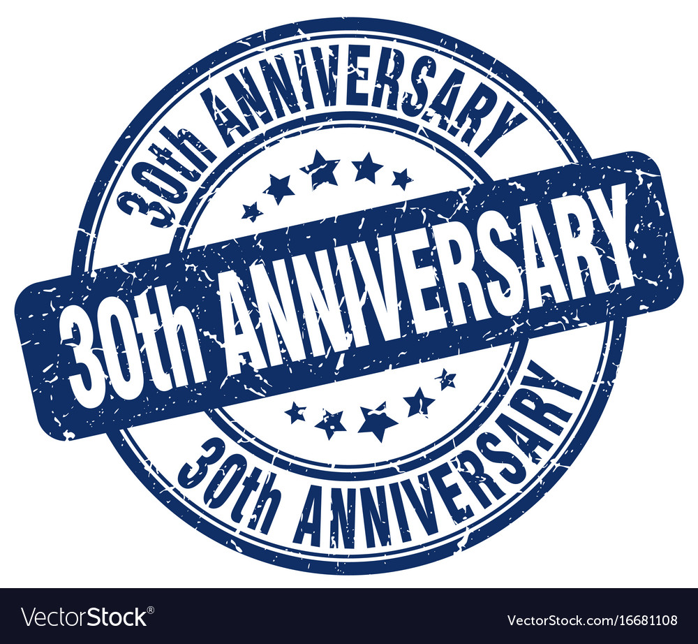 30th Anniversary Blue Grunge Stamp Royalty Free Vector Image