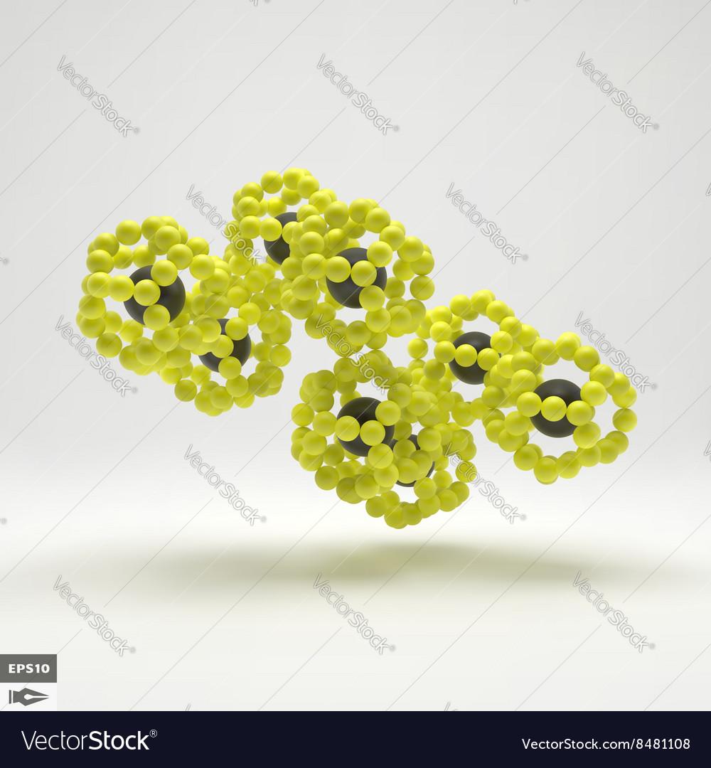 3D Molecule Structure Futuristic Technology Style vector image