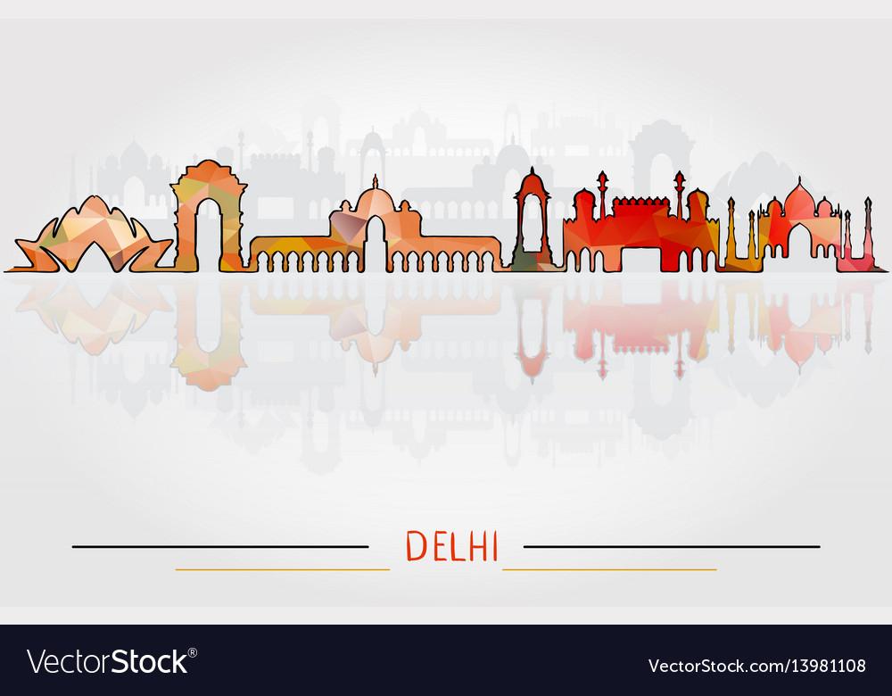 Delhi city silhouette with city silhouette design
