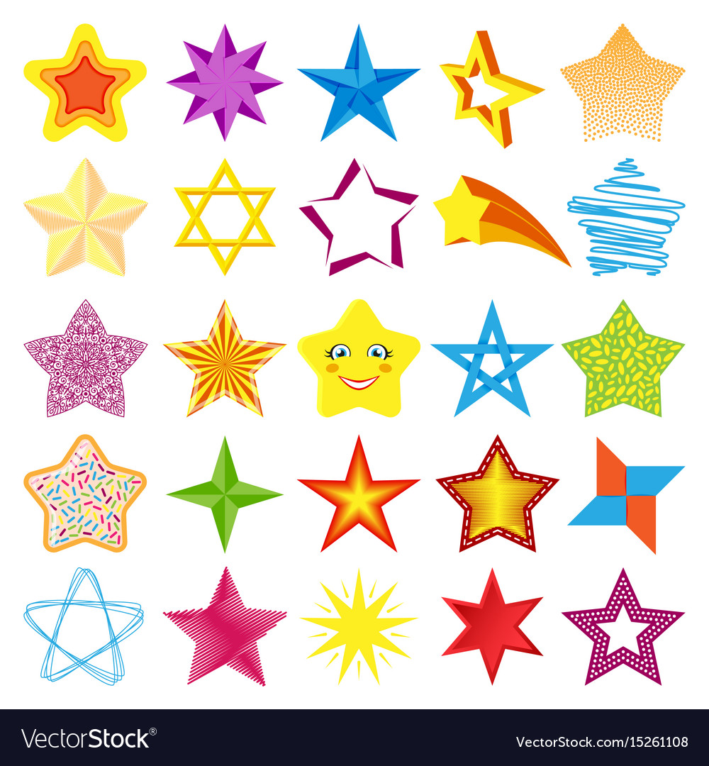 Different style shape silhouette shiny star icons