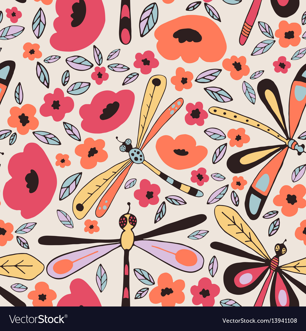 Dragonflies seamless patterns vector image