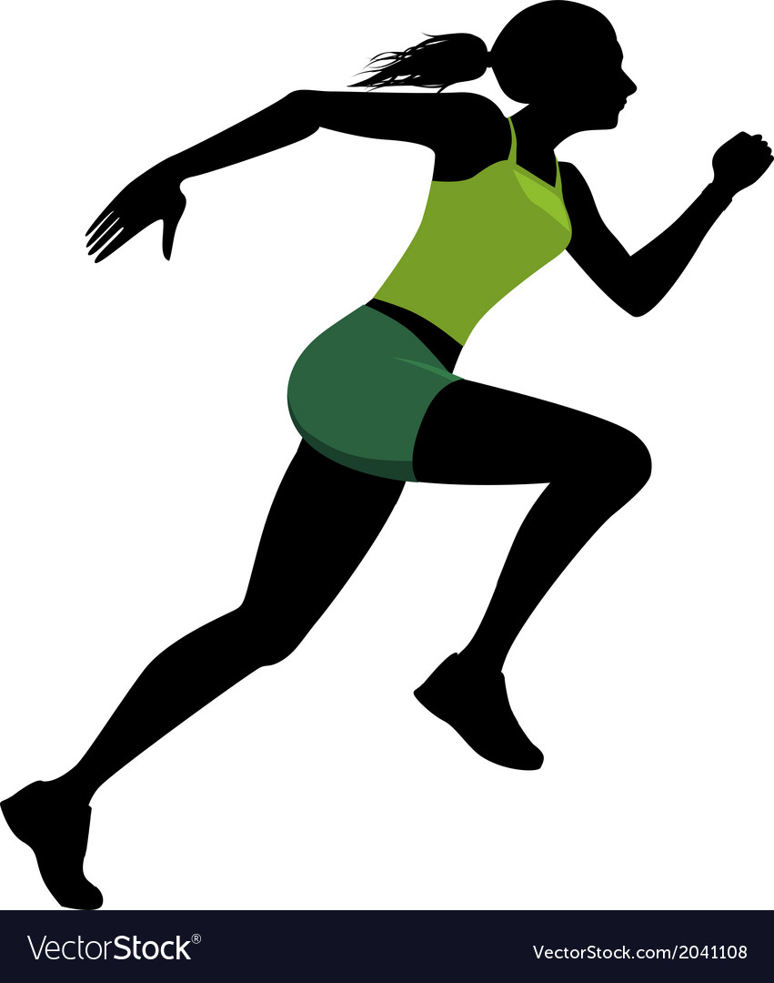 Female runner silhouette vector image