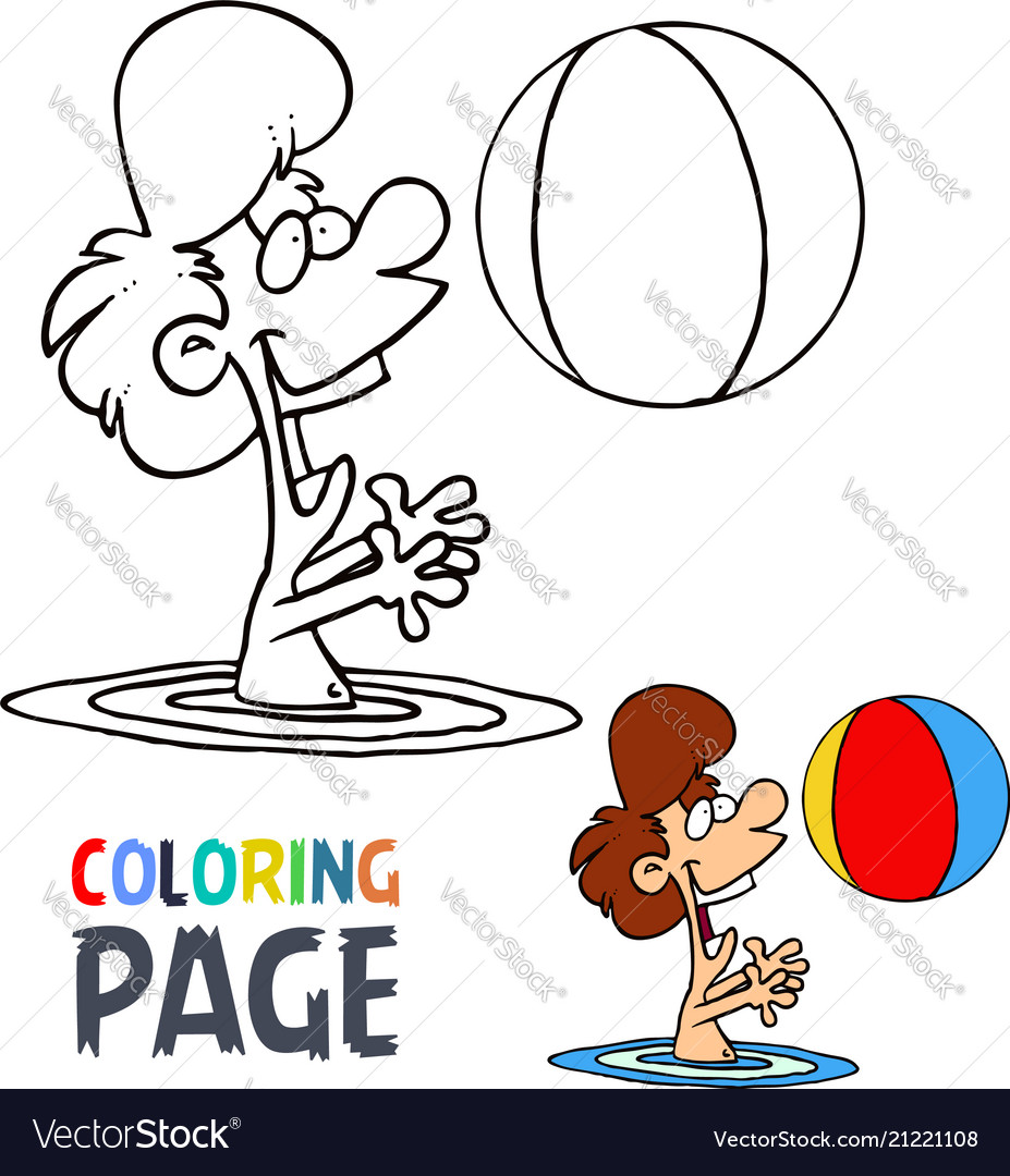 Girl playing ball in water cartoon coloring page