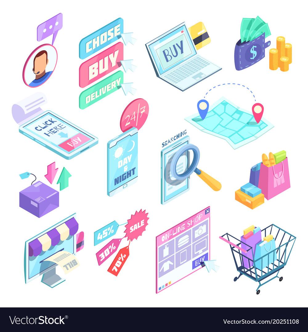 Internet shopping isometric set