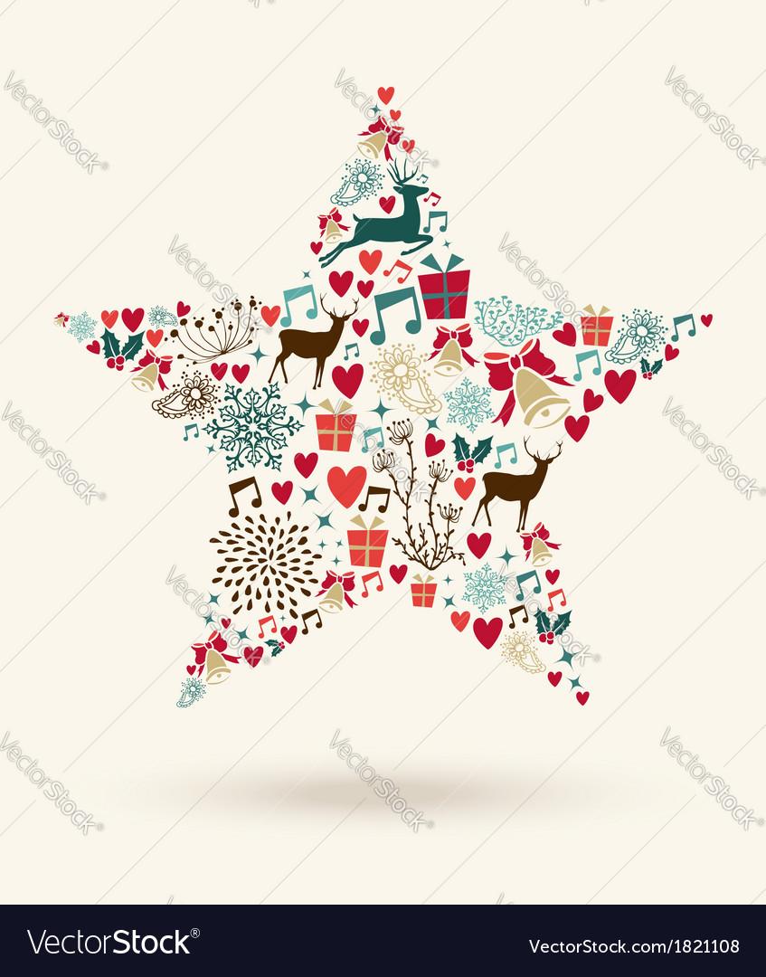 Merry Christmas star shape vector image