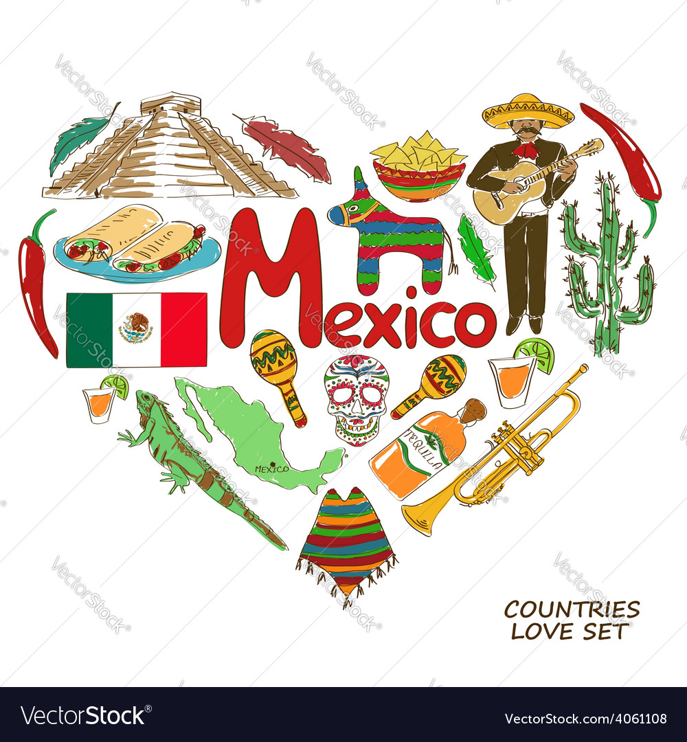Mexican symbols in heart shape concept
