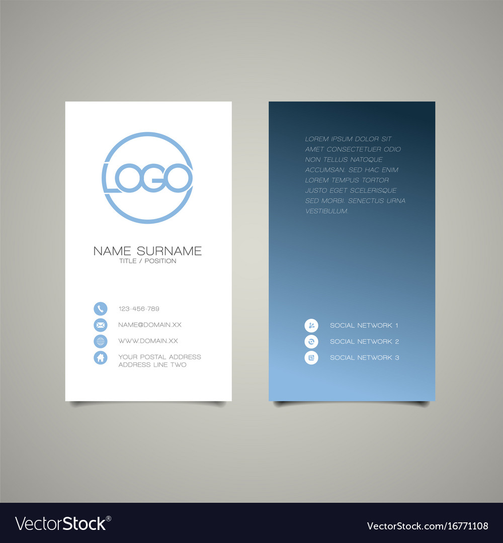 Modern simple vertical business card template vector image colourmoves