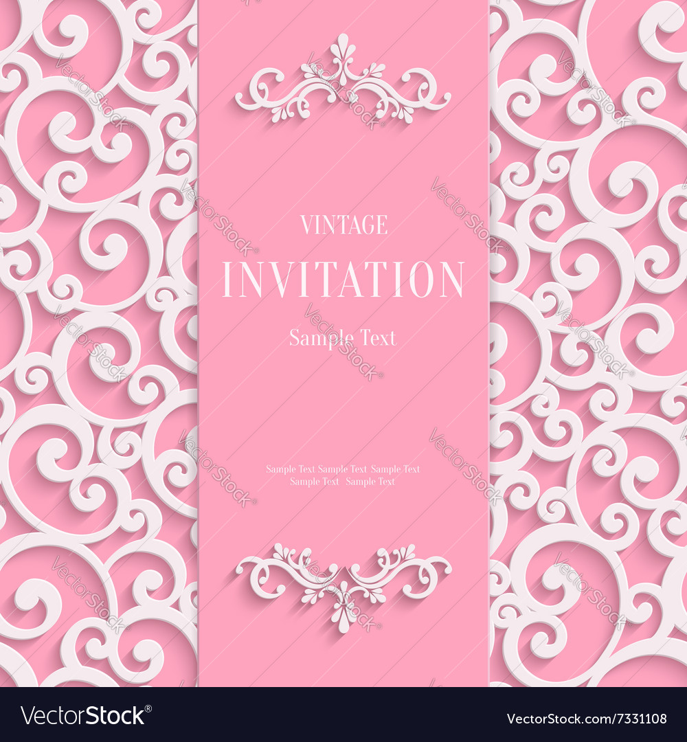 Pink 3d vintage invitation card with swirl vector image stopboris Image collections