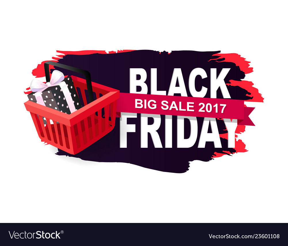 Price tag on black friday sale with shopping cart