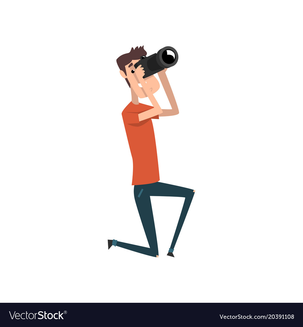 Professional male photographer with photo camera vector image