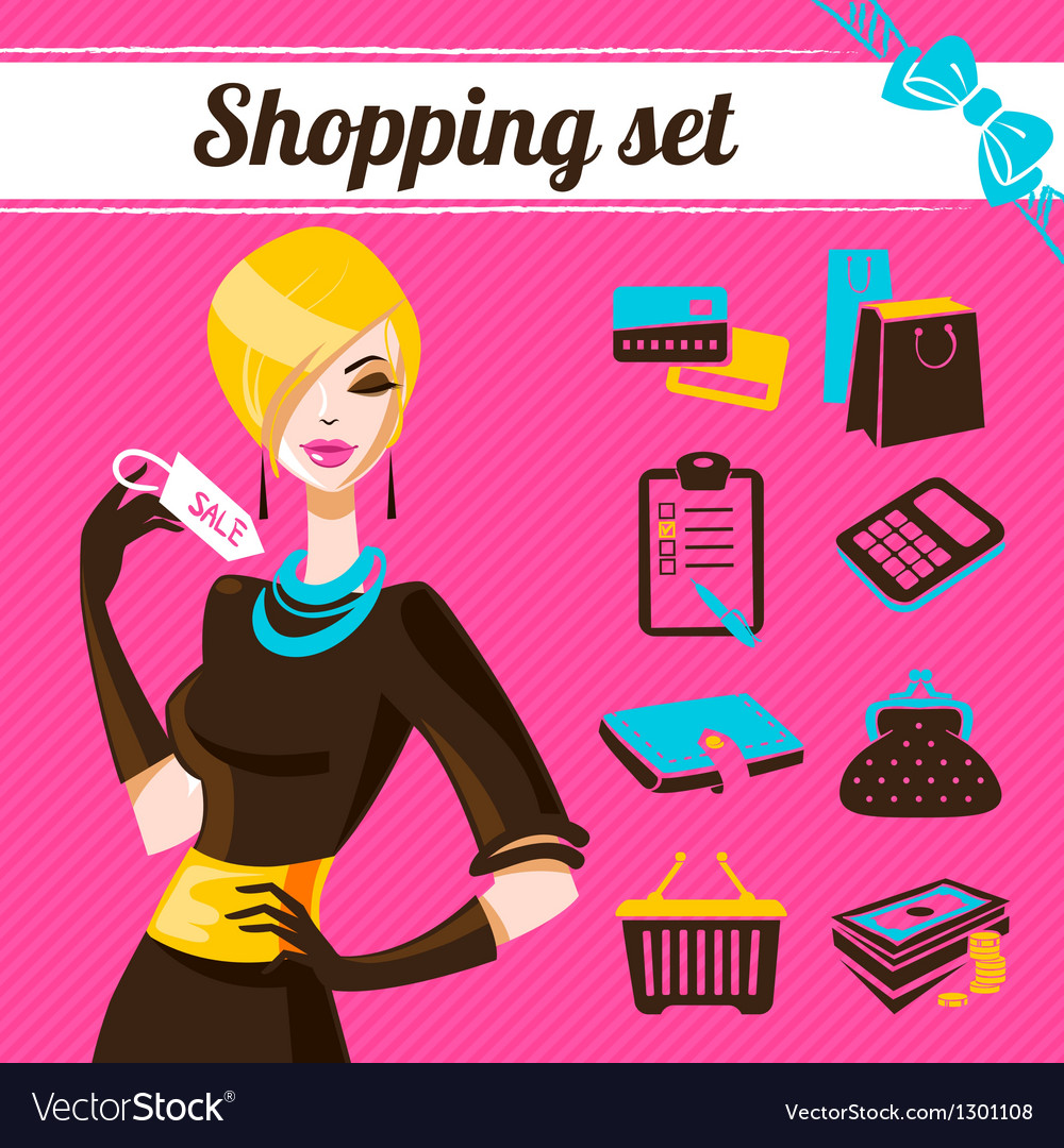 Shopping set infographics of fashion women vector image