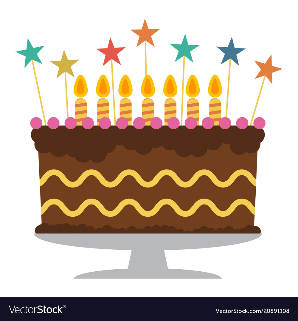 Superb Sweet Birthday Cake With Seven Burning Candles Vector Image Funny Birthday Cards Online Alyptdamsfinfo