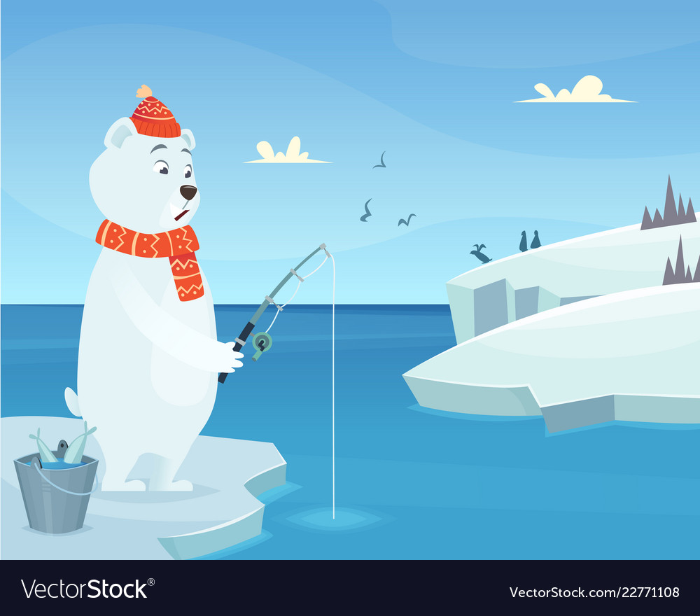 white bear background iceberg ice winter animal vector image