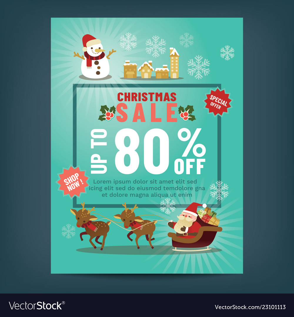 Christmas sale poster with cute santa claus
