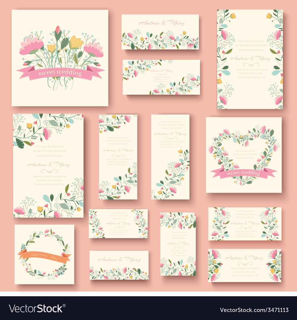 Colorful greeting wedding invitation card set Flow vector image